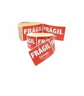 """Tira de 25 etiquetas adhesivas con texto """"frágil"""""""