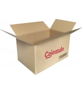 Caja de cartón de canal simple y calidad extra con logo Cajeando y sin asas, medida 43x30x25 cm