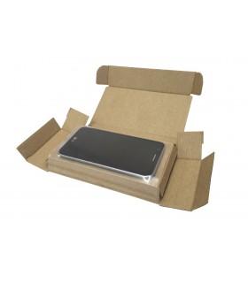 Caja troquelada para teléfono móvil abierta.
