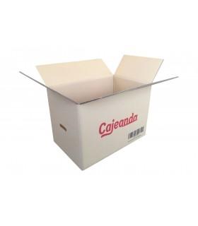 Caja de cartón canal doble logo Cajeando. Abierta. 55x35x37