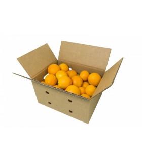 Caja de cartón para realizar envíos de fruta o verdura, con fruta