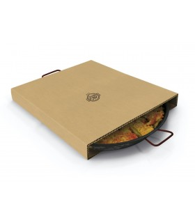 Caja de cartón para transportar paellas para recogida en local o envío a domicilio.
