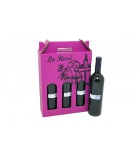 Caja de cartón en forma de estuche para transportar o regalar 3 botellas de vino, en color rosa con letras en color negro