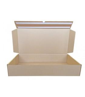 Caja troquelada automontable de envío con retorno boomerang, medidas 72x35x13 cm. Imagen frontal abierta