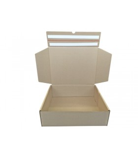 Caja troquelada automontable de envío con retorno boomerang, medidas 42x34x13 cm. Imagen frontal abierta